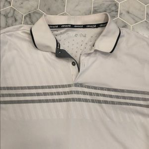 White Adidas shorts sleeve golf polo